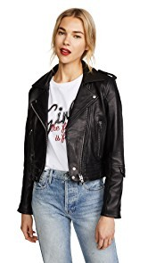 Blank Denim Cropped Classic Leather Moto Jacket