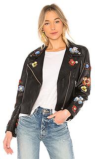 Кожаная куртка с цветочным декором 637 - LPA