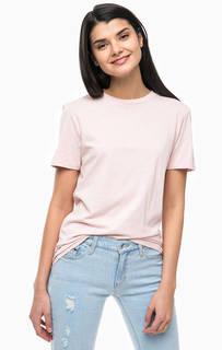 Однотонная розовая футболка из хлопка Selected