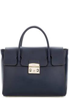 Синяя сумка из гладкой кожи с одним отделом Furla