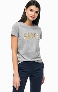 Хлопковая футболка с логотипом бренда Gant