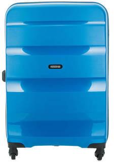 Синий пластиковый чемодан на колесах American Tourister