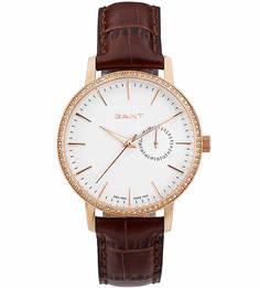 Часы с коричневым кожаным ремешком Gant