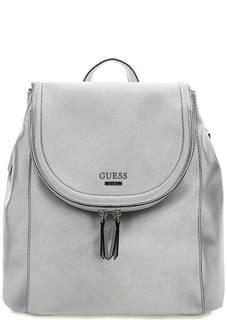 Серебристый рюкзак с одним отделом Guess
