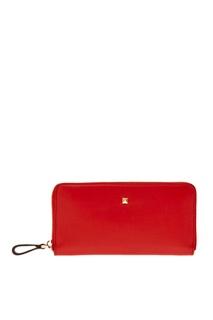 Красный кожаный кошелек Valentino
