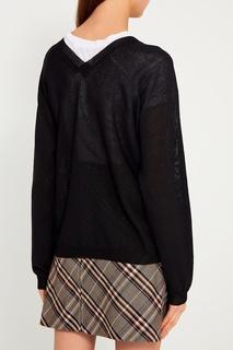 Черный пуловер из хлопка и льна Tegin