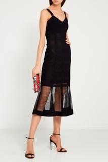 Шелковое платье с прозрачным подолом Alexander Mc Queen