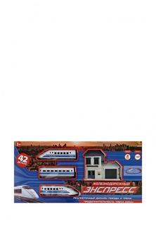 """Железная дорога """"Экспресс"""", 200 см, эл/мех, 42 предмета, в коробке, 56x5x27 см Abtoys"""