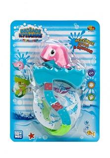 Веселое купание. Дельфин для ванной, в наборе с аксессуарами (2 предмета), 2 вида в ассортименте, на блистере, 21х28х6,5 см Abtoys