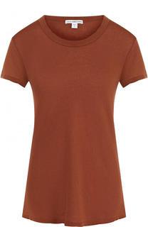 Однотонная хлопковая футболка с круглым вырезом James Perse