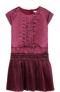 Шелковое платье с плиссированной юбкой и металлизированной отделкой Burberry