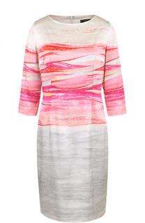 Шелковое приталенное платье с принтом St. John