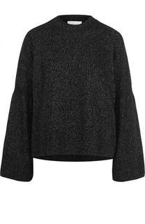 Шерстяной пуловер свободного кроя BOSS
