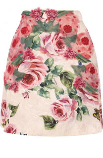 Мини-юбка из смеси хлопка и шелка с цветочным принтом Dolce & Gabbana