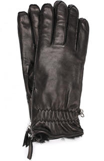 Кожаные перчатки с меховой подкладкой Dsquared2