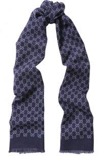 Шерстяной шарф с бахромой Gucci