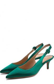 Атласные туфли Anna на каблуке kitten heel Gianvito Rossi