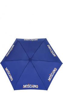 Складной зонт с принтом и брелоком Moschino