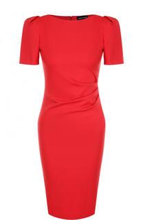 Приталенное платье-миди с рукавом-фонарик и драпировкой Giorgio Armani