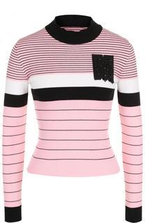 Приталенный хлопковый свитер с высоким воротником MSGM