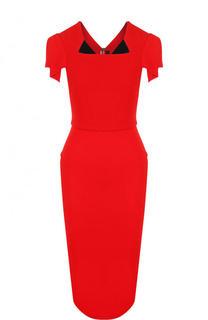 Однотонное платье-футляр с коротким рукавом Roland Mouret