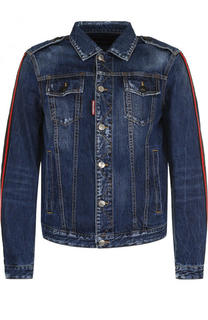 Джинсовая куртка с контрастной отделкой Dsquared2