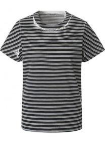 Однотонная хлопковая футболка в полоску T by Alexander Wang