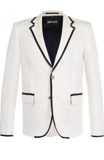 Однобортный пиджак с контрастной отделкой Just Cavalli