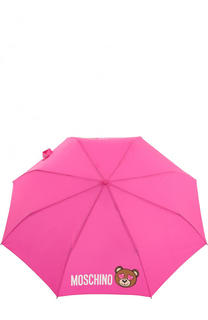 Складной зонт с принтом и фигурной ручкой Moschino