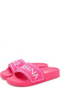 Резиновые шлепанцы с логотипом бренда Dolce & Gabbana