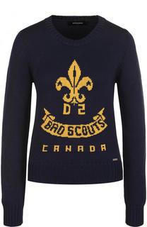Пуловер с круглым вырезом и контрастной надписью Dsquared2