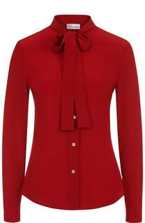 Приталенная шелковая блуза с воротником аскот REDVALENTINO