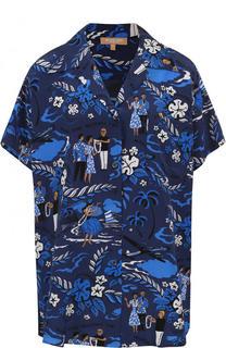 Шелковая блуза свободного кроя с принтом Michael Kors