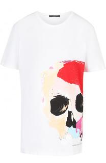 Хлопковая футболка свободного кроя без рукавов Alexander McQueen