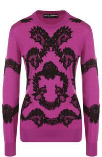 Пуловер из смеси кашемира и шелка с кружевной отделкой Dolce & Gabbana
