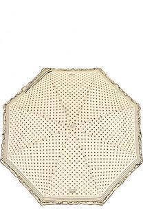 Складной зонт в горох с декоративной оборкой Moschino
