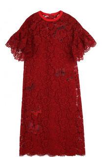 Шелковое кружевное платье-миди Valentino