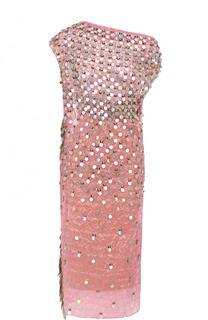 Платье-миди с открытым плечом и пайетками Marni