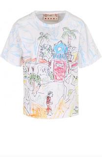 Хлопковая футболка свободного кроя с принтом Marni
