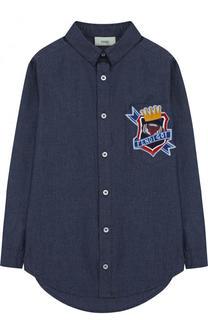 Джинсовая рубашка с нашивкой Fendi Roma