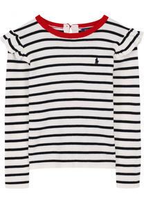 Хлопковый пуловер с оборками в полоску Polo Ralph Lauren