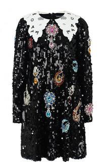 Мини-платье с отложным кружевным воротником и пайетками Dolce & Gabbana