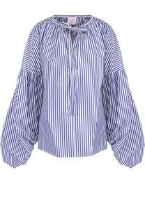 Хлопковая блуза в полоску с объемными рукавами Stella Jean