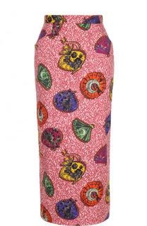 Хлопковая юбка-карандаш с принтом Stella Jean