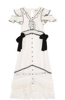 Приталенное платье-миди с оборками и кружевной отделкой self-portrait