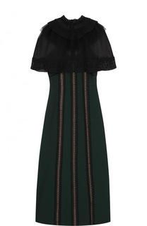 Приталенное платье-миди с прозрачным кружевным лифом self-portrait