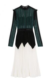 Платье-миди с кружевным лифом и плиссированной юбкой self-portrait