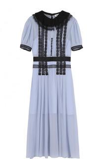 Приталенное платье-миди с контрастной отделкой self-portrait