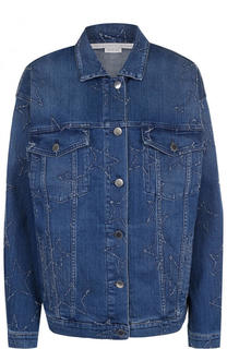 Джинсовая куртка свободного кроя с потертостями Stella McCartney