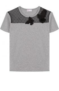 Хлопковая футболка прямого кроя с кружевной вставкой REDVALENTINO